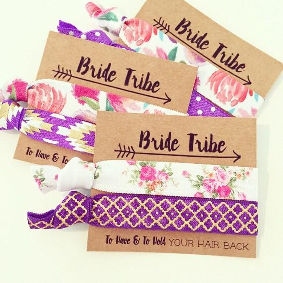 ASSORTED PURPLE BOHO Hair Tie Favors | Purple Floral Bride Tribe Hair Ties, Bridesmaid Gift Hair Ties, Bridal Party Hair Ties, Boho Wedding