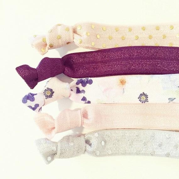 Plum Floral Hair Tie Set | Eggplant, Nude + Gold Creaseless Elastic Hair Ties, Boho Wedding Bridesmaid Gift, Plum Purple Blush Hair Ties