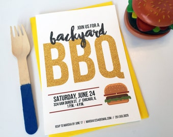 Summer Pool Party BBQ Cookout Invitation