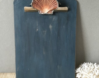 Vintage clipboard   coastal office decor   home office   wood   wooden clip board   beach decor   9 x 12   navy clipboard   artissimo blue