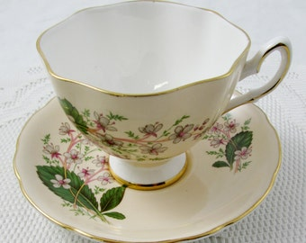 Vintage Tea Cup and Saucer by Royal York, Cream Colored with Flowers, English Bone China