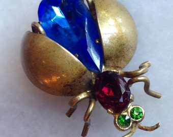 Vintage Art Deco Czech Insect Pin Scarab