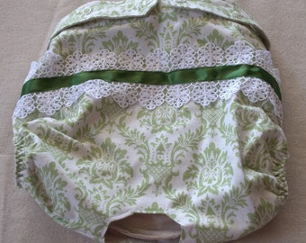 FREE SHIPPING. Dog Diaper. In Season Diaper. In Heat Panty. Green Damask Retro Print. XX-Large.