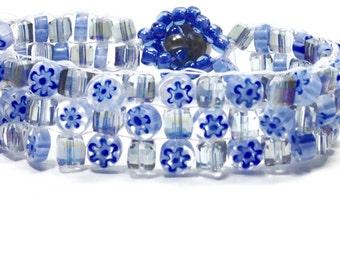Beaded Bracelet,Blue Bracelet,Flower Bracelet,Glass Bracelets,Handwoven Bracelets,Woven Bracelets,Beadwork Bracelet,Boho Bracelets,Holiday