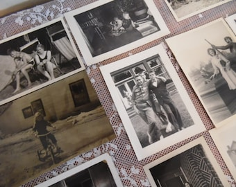 Antique Photographs Lot of 28 1940's 1st Communion Sailors Family Memories Instant Family Relatives Home Staging Movie Props Snapshots