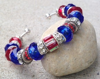 July 4th Bracelet, Holiday Jewelry, Patriotic Jewelry, Red White and Blue, Cuff Bracelet, Independence Day, American Flag, Memorial Day