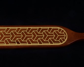 BDSM paddle, Spanking Paddle, Wooden Paddle, Handmade BDSM Paddle with a 3D block inlay design. Accessories, Handmade BDSM, Over 18's only.
