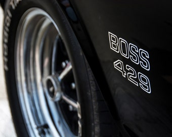 Poster of Ford 69 Mustang Boss Left Close Up Black HD Print