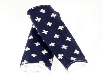 Carseat Strap Covers in Navy Swiss Cross and White Minky