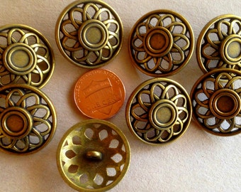"""Lot of 8 Domed Antiqued Brass Tone Metal Pierced Buttons Shank 1"""" 25mm # 7377"""
