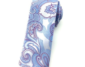 Light Blue with Silver & Purple Paisley  6.5 cm Skinny tie. Slim Tie. Narrow Thin Tie. Skinny Tie. Formal Necktie.Grey tie. Skinny tie
