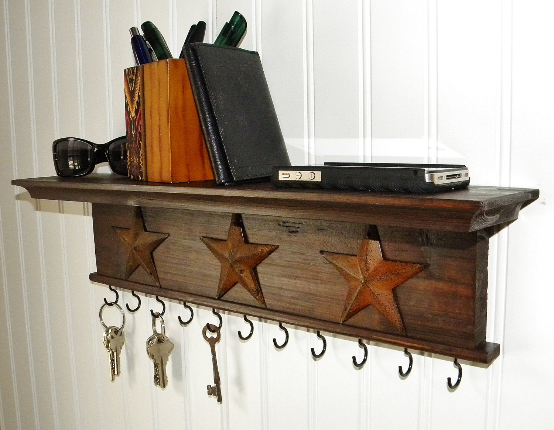 Key Holder Wall Shelf Modern Rustic Wood Handmade Walnut