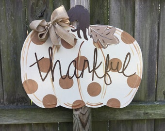 Fall Brown Polka Dot Pumpkin Wooden Door Hanger