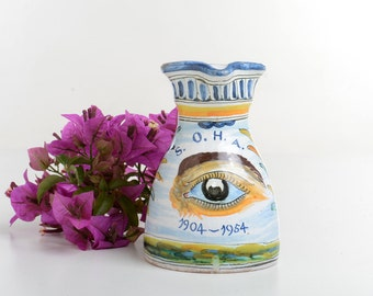 Small ceramic vase, vintage Spanish pottery vase, small pitcher
