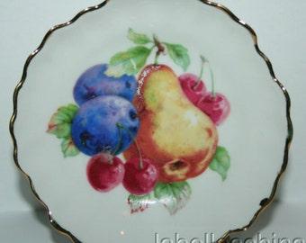 Winterling German Fruit Design Butter Pat / Coaster Grapes, Apple, Pomagrantes