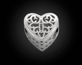 Silver Filigree Heart Beads Locked Heart Charms For European Charm Bracelets #12-FHB2