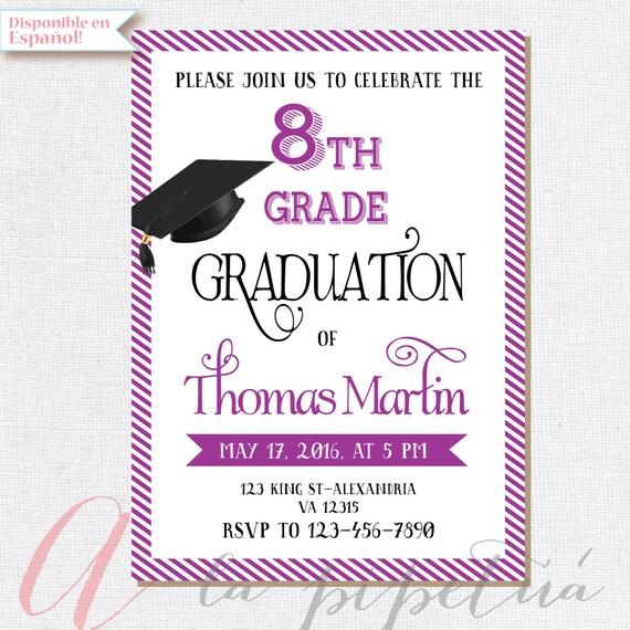 8. klasse graduierung laden. druckbare abschlussfeier, Einladungen