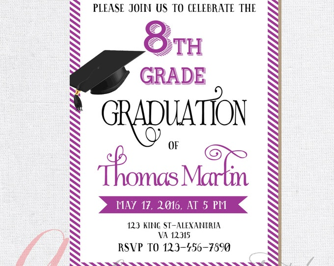 8th Grade Graduation invite. Printable graduation invitation. 8th grade invitation. 8th grade Promotion