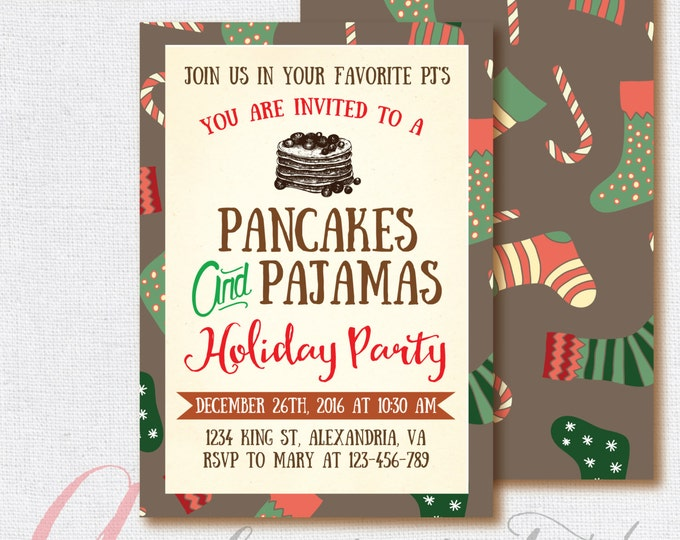 Christmas Invitation, Pancakes and Pajamas Invitation, Christmas Party. Christmas breakfast invite PRINTABLE, Holiday Invite