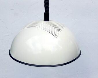 Vintage Italian Rolly Hanging Lamp Pendant Light White Enameled Pierced  Lampshade Black rubber Edge Industrial