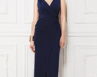 Long Navy Blue Dress Wrap.Maternity Dress Party.Simple Dress Occasion