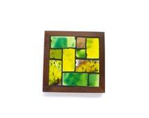 Midcentury Modern Tile Tray,Danish Modern Green Yellow Brown Wood Stand,Made in Japan Nasco Handmade Coaster,Ceramic Pottery Mosaic Tray