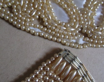 Two Exquisite Vintage Pearl Beaded Collars