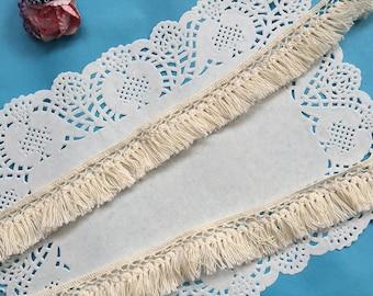 5 yards - Vintage Crochet Lace Trim, Tassel Lace Trim, Retro Beige Lace Trim, 100% Cotton (Z012)