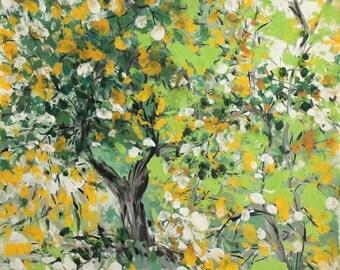 Vintage oil painting forest landscape