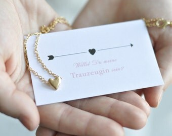 Maid of honor gift - card and Heart Necklace in gold