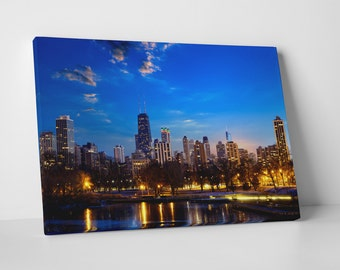 Chicago Downtown Night Skyline Gallery Wrapped Canvas Print