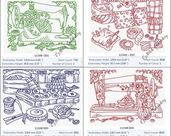 INSTANT DOWNLOAD Antique Sewing Machine Embroidery Designs 1-10