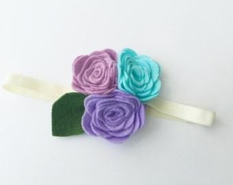 Baby girl flower headband - Purple and Aqua - flower headband - Regal Accessories