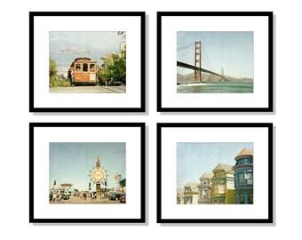 SALE, San Francisco Wall Art Set, San Francisco Prints, Gallery Wall, Set of 4 Prints, California Photography, cable car, golden gate bridge