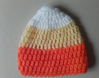 Candy corn hat, baby candy corn hat, crochet candy corn hat, baby corn hat, ready to ship