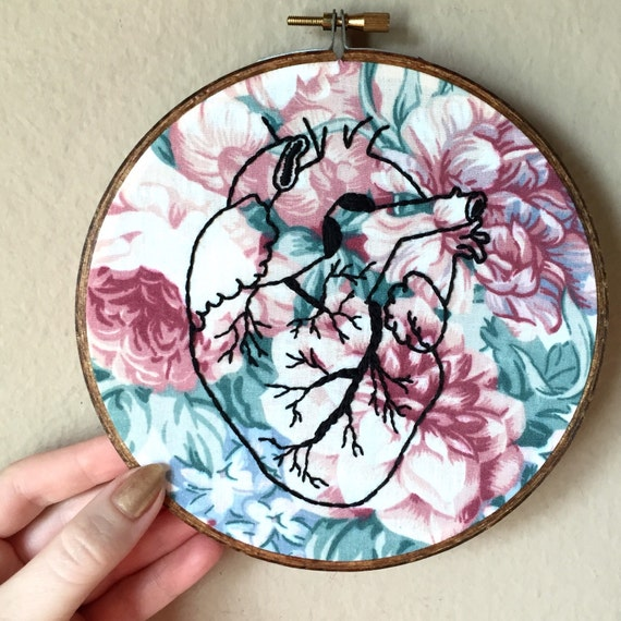 Anatomical Heart Hand Embroidery Hoop Art Floral Fabric Hand