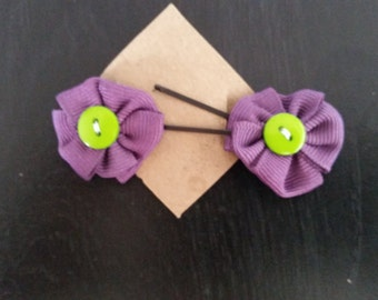 Purple with green button bow