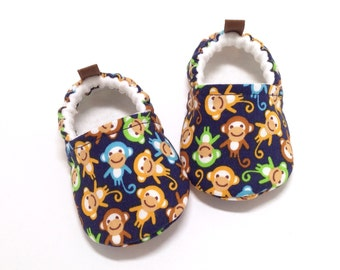 Monkey Baby Shoes, Soft Sole Baby Shoes, Baby Shower Gift, Monkey Toddler Slippers, Blue Baby Shoes, Blue toddler shoes