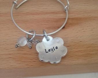 name bracelet, flower girl gift, flower girl bracelet, bridesmaid gift, thank you for being flowergirl, little girls jewelry, girls birthday