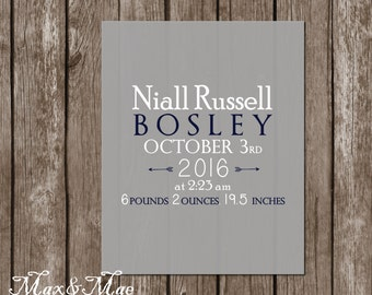 Baby Stats Poster, Nursery Sign, Baby Boy Announcement Poster, Baby Boy Stats, 8x10, Digital, Printable