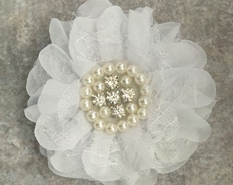 Chiffon and lace flower, large flower, white flower, lace flower, flower puff, flower supplies, DIY supplies,