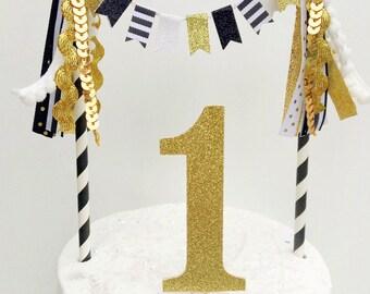 Custom Number Black White Striped Cake Topper Gold Glitter Number Tassel Bunting Cake Topper First Birthday Smash Cake topper