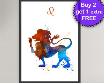 LEO Art Watercolor Print - Lion Zodiac Sign Ink Painting Esoteric Horoscope Art Wall Art Gift Decor Poster Wall Decor Art