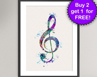 TREBLE CLEF Sign Nº2 Watercolor Art Print - Music Treble Clef G-Clef Ink Painting Music illustrations Art Print Wall Poster Wall Decor Home