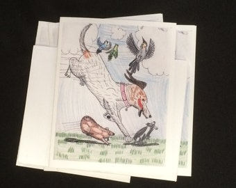 "K.S.D.G.M.S ""my pets"" - blank note cards by emily burke - set of 5 with envelopes."