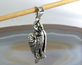 Parrot pendant in 925 Sterling Silver,movable   ---  4393