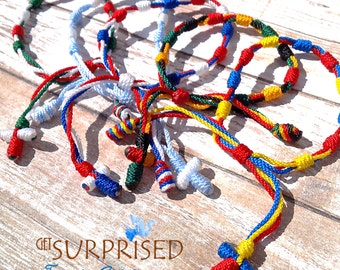1-6 SOCCER KNOTTED BRACELET. Strings rosaries-decades. Chile-Paraguay-Costa Rica-Cuba-Croatia-Philippines. Friendship bracelets. One decade