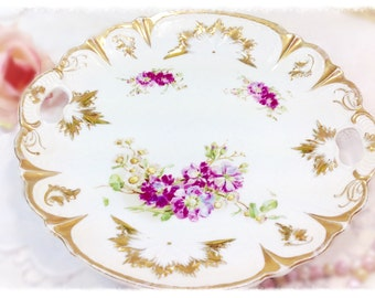 Gold Gilt Vintage Purple Floral Sprays Scalloped Platter With Handles, Perfect for Tea Party Wedding Shower Tea Time #370