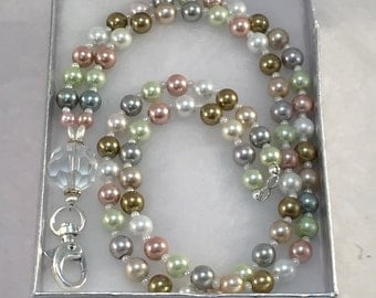 Pearl Lanyard. Multi Color Pale Name Tag Holder. Pearl Beaded Lanyard. Badge Holder. Work Jewelry. Coworker Gift. Boss. Fifteen Dollar Gift