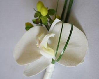 White/ivory/off white, phalaenopsis orchid, berries, Boutonniere / Corsage, Real Touch flowers, silk wedding flowers
